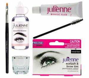 Julienne Eyelash Eyebrow Tinting Kit Dye Brush Tint Dish Oxidant Permanent Black