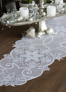 """Heritage Lace 19""""x 65"""" SNOWFLAKE White Christmas Table Runner  - Made in USA!"""