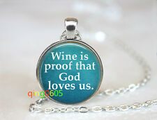 silver Chain Pendant Necklace wholesale Wine quote necklace glass dome Tibet