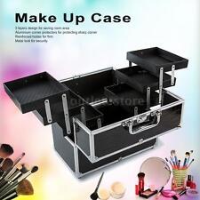 Large Cosmetic Storage Box Make Up Case Supply Lockable Black US Seller