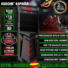 Ordenador Gaming Pc Intel Core i5 8GB DDR3 1TB ASUS GTX1050 4GB Ti de Sobremesa
