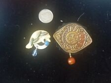 Silver Forest Dangle PIN  Lot of 2 x  Gold Tone Brown