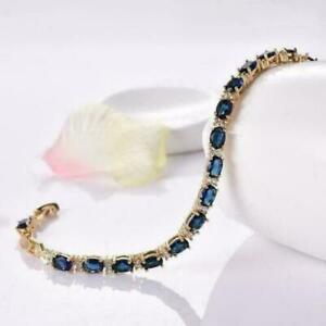 10Ct Oval Cut Blue Sapphire Diamond Tennis Bracelet Solid 14K Yellow Gold Finish