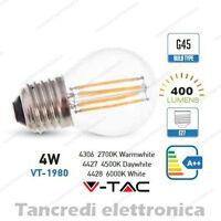 Lampadina led V-TAC 4W = 40W E27 VT-1980 G45 miniglobo filamento lampadine bulbo