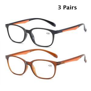 3 Pairs Reading Glasses Flexible Unisex Readers 1.0 1.5 2.0 2.5 3.0 3.5 4.0 TR