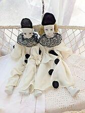 Pierrot et Colombine-grandes poupées vintage-têtes et membres en porcelaine