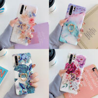 For Samsung Galaxy S8 S9 S10 Plus Note 8 9 10 Marble Flower Ring Holder TPU Case