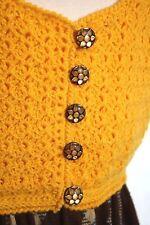 Vtg 60s 70s Sleeveless Crochet Bodice Empire Waist Maxi Dress Hippie Boho Mod