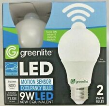 4PK Greenlite LED Motion Sensor light bulb on and off automatic A19 Energy Star