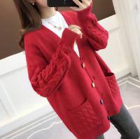 Women V-Neck Wool Twist Knitted Sweater Cardigan Loose Buttons Thick Coat WINTER