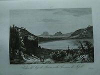 1845 Zuccagni-Orlandini Veduta del Lago di Averno nella Provincia di Napoli