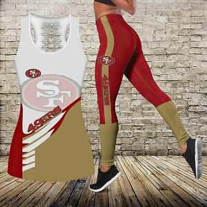 San Francisco 49ers 2 Piece Tank Top Butt Lift Leggings High Waist Yoga Pants