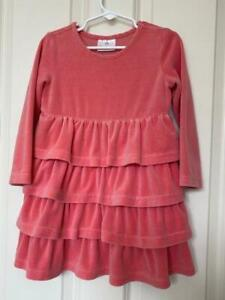 HANNA ANDERSSON Long Sleeve Velour Ruffled Peach Dress Toddler Girl Size 100