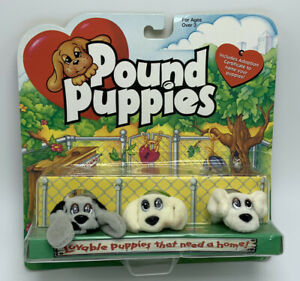 Pound  puppies mini New in package- set 3 - 2 inchs 1995 NOS Galoob