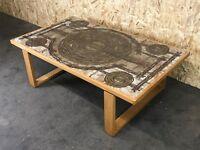 70er Jahre Eiche Oak Tisch Coffee Table Ox-Art Couchtisch Keramik Design 70s