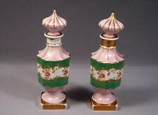 Sitzendorf Germany Dresden Porcelain Bottles Rare Antique Set of 2 Crossed lines