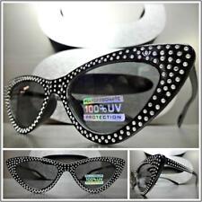 Elegant VINTAGE 50's RETRO Cat Eye Style SUN GLASSES Bling Black Frame Dark Lens