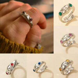 Retro Crystal Frog Animal Open Ring Crystal Finger Knuckles Jewelry Adjustable