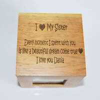 Personalised Oak Wooden Photo Box Keepsake Cube Box Engraved - I heart My Sister
