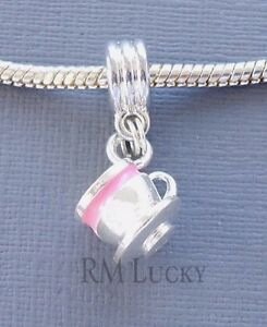 Dangle Pendant CUP Pink large hole FITS European Charm Bracelet or Necklace. C75