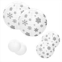 6 White Silver Snowflake Lantern Frozen Globe Snow Winter Party Decorations Xmas