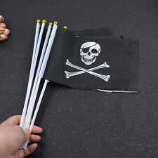 5 Pcs Skull and Crossbones Pattern Jolly Roger Mini Pirate Flag Black 21*14cm