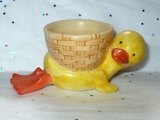 VTG BISQUE PORCELAIN LAYING DUCK WITH BASKET ON BACK FOR EGG CUTE