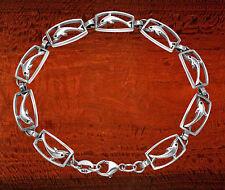 BR99 Sterling Silver Framed Dolphins Bracelet 7.5 Inches Long