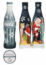 AWESOME COCA COLA COKE 2008 hinged display bottle w/ Santa Clause puppy and boy