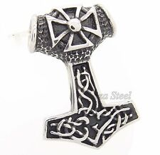 THOR'S HAMMER CROSS Magick Mjolnir Stainless Steel Pendant Free Chain Necklace