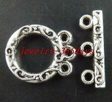 5sets Tibetan Silver 3-holes Ring Toggle Clasps 18.5x15.5mm 8995