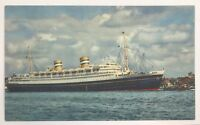 Holland America Flagship Nieuw Amsterdam Rotterdam Vintage Lithograph Postcard