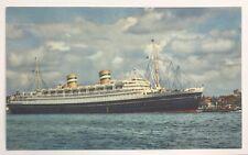 Vintage Lithograph Postcard Holland America Flagship Nieuw Amsterdam Rotterdam