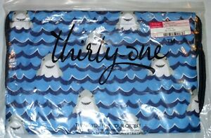 THIRTY-ONE Gifts - SHARK PARTY Blue CINCH SAC Kid's Drawstring Backpack Bag, NEW