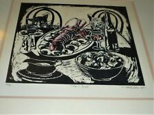 VINTAGE COLOURED SCREEN PRINT SIGNED DAVID WHITE 1987 TITLED CATS & FEAST 40/90
