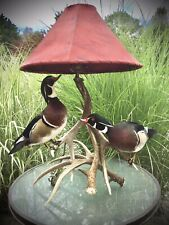 Two Mounted Drake Wood Ducks On A Antler Lamp Duck Taxidermy