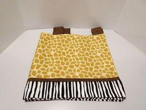 Lambs & Ivy Safari Express Giraffe Print Valance Faux Suede Tabs Zebra Nursery