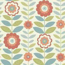 Arthouse Teal Coral Orange Retro 70s Style Flowers Vintage Wallpaper 621101