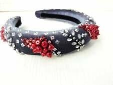 Padded velvet headband Women girl hairband Velvet red grey pearl headband