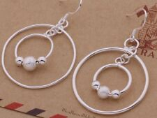 925 Sterling Silver Bead Round Circle Drop Dangle Hook Earrings Fashion Stunning