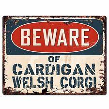 Ppdg0045 Beware of Cardigan Welsh Corgi Plate Rustic Chic Sign Decor Gift