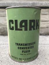 Vintage CLARK Transmission Fluid MOTOR OIL CAN 1 Quart FULL Metal 1976