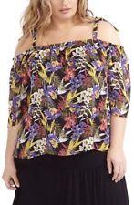 NWT Michel Studio Floral  Chiffon Tie Shoulder Blouse Size 14W $68 EPBR