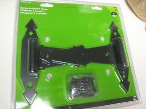 """Hillman  8"""" Black Ornamental Strap T - Hinges#851658 Spring loaded -adjustable"""
