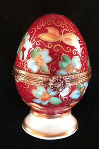 Limoges Box Deep Red Miniature Egg w/ Fowers Lot 1080