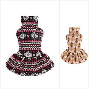 Fitwarm Argyle Dog Dress Lightweight Knitted Pet Clothes Doggie Girl One-Piece