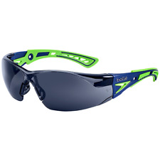 Bolle Rush Plus Safety Glasses Blue/Green Temples Smoke Anti-Fog Lens