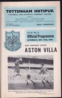 1966/67 TOTTENHAM HOTSPUR V ASTON VILLA 29-10-1966 Division 1