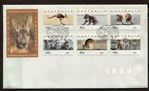 AUSTRALIA 1994, WILD ANIMALS, MARSUPIALS, Scott 1288-1293, SELF-ADHESIVES, F.D.C