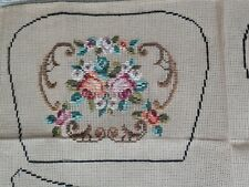 C 1940s Tapestry Purse Pink Roses Partially Worked Pattern